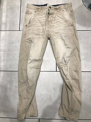 River Island Men's Guerilla  Beige Stone Twisted Chino Trousers Size 34/0 New