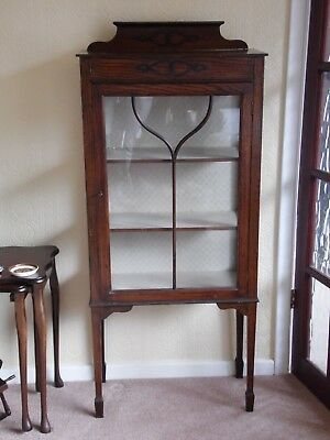 Antique Oak Display / Curio Cabinet - In original condition with key