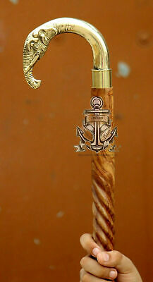 Vintage Elephant Antique Brass Head Wooden Walking Spiral Cane Stick Style Shaft