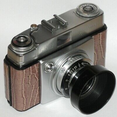 Vintage Ilford Sportsman Style 2 With Lens Hood. Crocodile Skin Covered