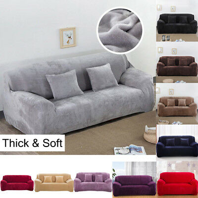 Easy Fit Sofa Slipcover Stretch Protector Soft Cover Thick Plush Velvet 1-4 seat