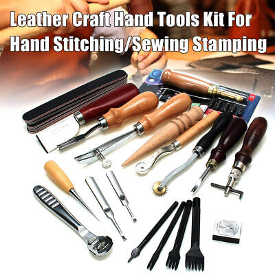1Set Vintage Leather Craft Kit Stitching Sewing Beveler Punch Working Hand Tools