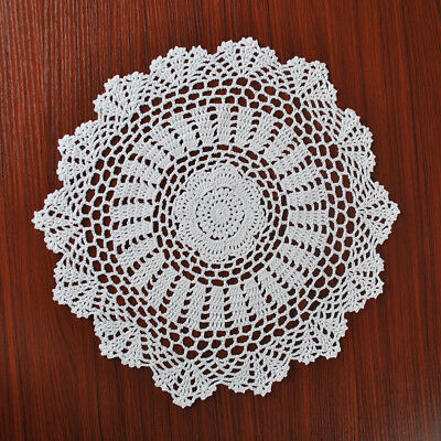 4Pcs/Lot White Vintage Hand Crochet Lace Doilies Round Placemats Cotton 15inch