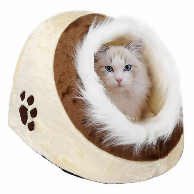 Small Washable Cat Bed Igloo Sleeping Pet Puppy Dog Kitten Fluffy Cave House Bed