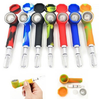 Silicone Hand Tobacco Smoking Pipe with Cap Bowl +2 filter tips + 5 Bowl Screens
