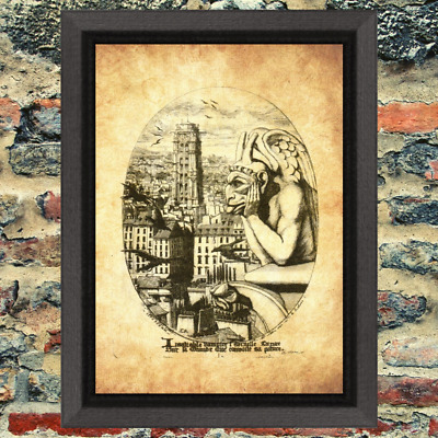 Ancient Art Print  Occult Antique Effect Historic Curio Strange Weird Gargoyle