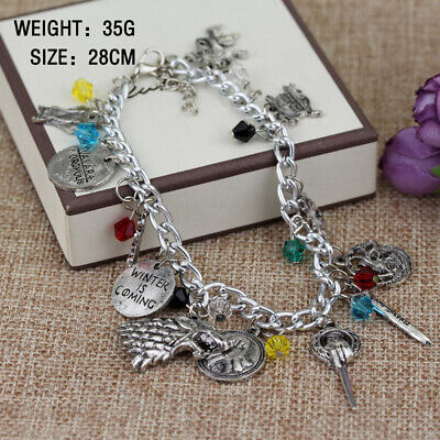 Game of Thrones 8 Ice Fire Song Charm Bracelet Fashion Wristbands Pendant