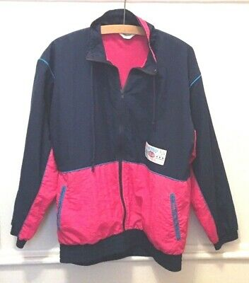 Vintage 90's 80's Blue Pink Nylon Retro Shell Track Suit Top Jacket Size 10/12