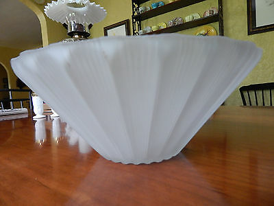 Heavy Frosted Glass Art Deco Ceiling Fixture Light Shade.  Scalloped And Reeded