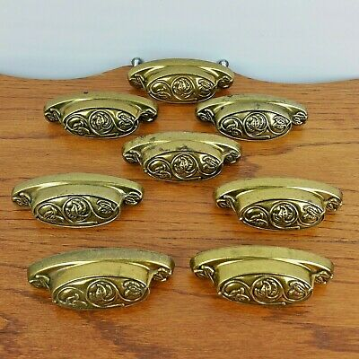 8 Vintage Solid Brass Style Drawer Pulls Knobs Handles Leaves Furniture Hardware