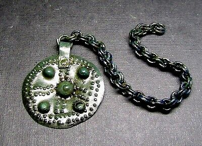 Ancient Bronze Viking Big PENDANT Amulet. Chain.