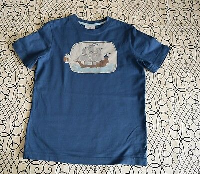 * Girls Boys 120 6X 7 Hanna Andersson Blue Fleece Sweatshirt Top Shirt Pirate