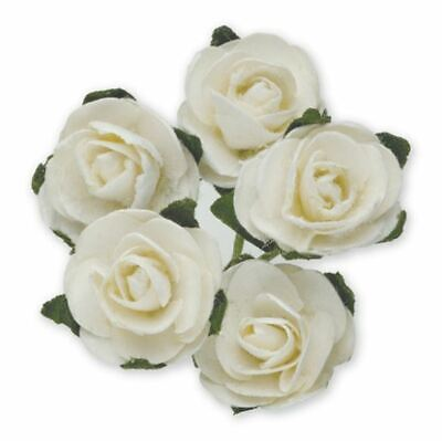 144 WHITE PAPER TEA ROSES ON STEMS FLOWERS 15mm CRAFT WEDDING BOUQUET CARD