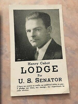 Vintage Henry Cabot Lodge For Senate Political Card