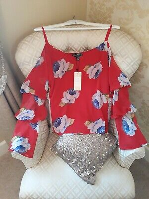 Lipsy Ladies Red Floral Cold Shoulder Tuck Sleeve Top/blouse New.sz 8.bnwt