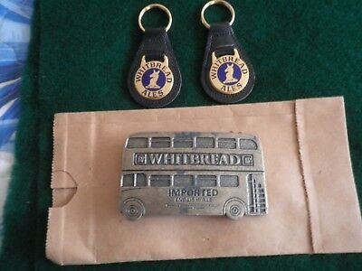 2 Vintage Whitbread Ale Key Chain & Double Deck Bus Brass Belt Buckle Lot: used