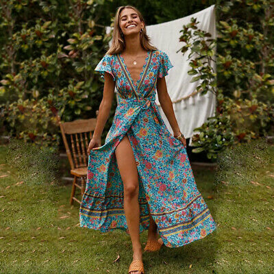 Womens Boho Floral Maxi Dress Party Evening Summer Beach Sundress