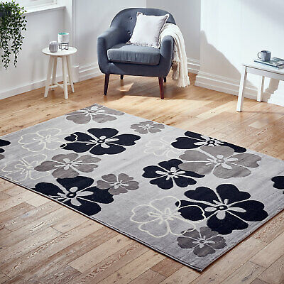 Floral Grey Black Budget Small Extra Large Runner Cheap Alpha Rug Ebay Online