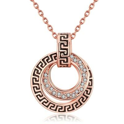Rose Gold Over 925 Sterling Silver Greek Key Round Disc Necklace