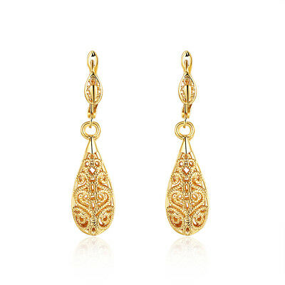 Ethnic Vintage Antique Gold Tone 3D Hollow Out Water Drop Earrings For Women New