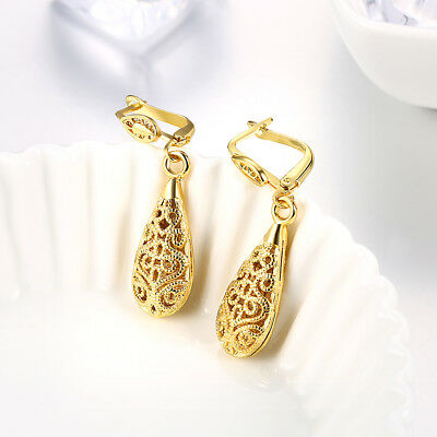 Antique Gold Tone Hollow Out Water Tears Drop Earrings Jewelry For Women