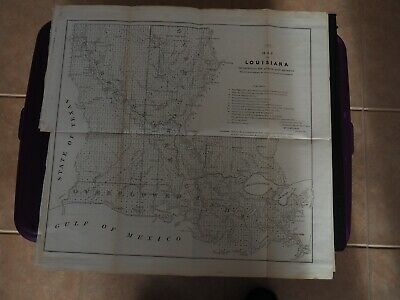 """Antique Map """"Map of Louisiana Representing the Several Land Districts...."""""""