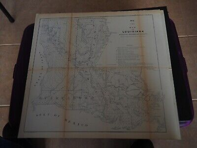 """Antique Map Rev H """"Map of Louisiana Representing the Several Land Districts...."""""""