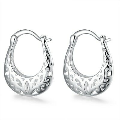 Filigree Hoop Earrings with French Lock Closure in 18K White Gold Plated ITALY