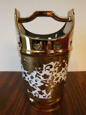 Japanese Porcelain Handled Water Bucket Ornate Lots of Gold Flowers& Hearts Vase