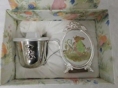 Vintage Grenadier Silver Plated Sippy Cup with Lid and Photo Frame Gift Box Set