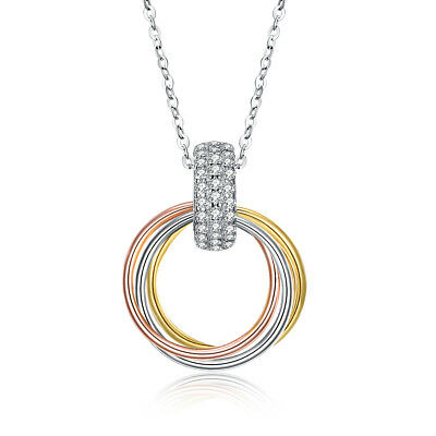 Solid 925 Sterling Silver Tri-tone Horn Pave 3 Rings Pendant Necklace ITALY