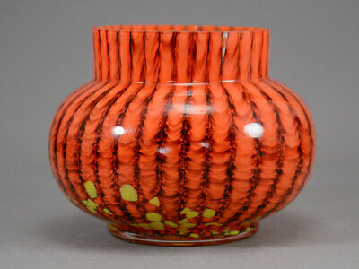 Franz Welz Stripes & Spots Posy Vase Orange Yellow Bohemian Czech Art Glass