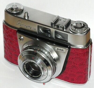 Vintage Kodak Retinette 1A Type 035 With Case. Red Crocodile Skin Covered