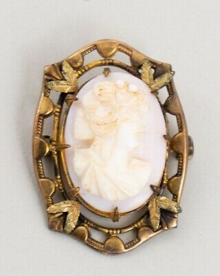 """Antique Victorian Yellow Gold Plated Carved Shell Cameo Brooch Pin 1.25"""""""