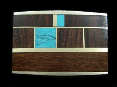 RL07167 *NOS* VINTAGE 1970s **INLAID WOOD & STONE BANDS** ART SOLID BRASS BUCKLE