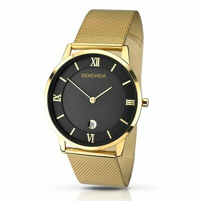Sekonda Mens Watch Gold - New Gents Black Dial Roman Numerals Stainless Steel