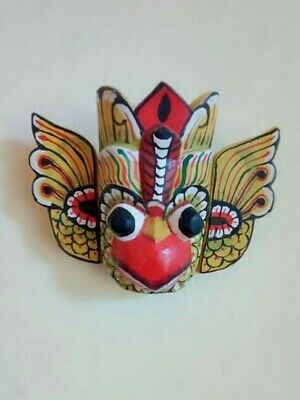 """Hand Carved Wood Wall Home Decor Vintage Flower Bird Mask Art 6"""" Asian / African"""