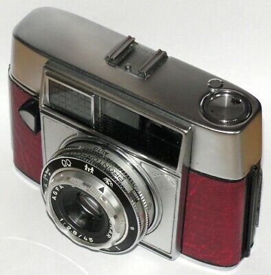 Vintage Agfa Optima I Camera And Case. Red Leatherette Covered