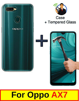 Slim Clear Cover Soft Tpu Gel Case + Tempered Glass Protector For Oppo Ax7