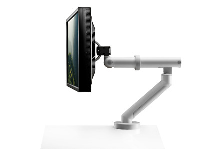 CBS Flo Plus Dynamic Single/Dual Monitor Arm WHITE for Heavy Screens/iMac <18kg