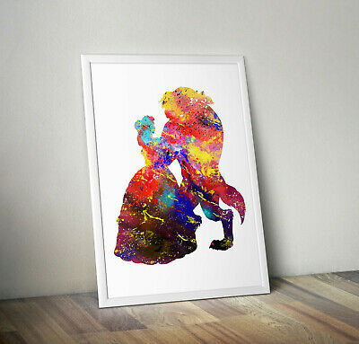 Disney inspired Beauty and the beast poster print wall art childrens kids decor