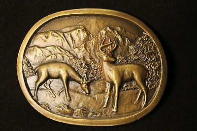 Vintage Brass Belt Buckle Indiana Metal Craft Deer Mountains Buck Doe White Tail