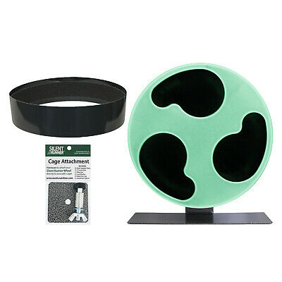 """Silent Runner Glow Wheel 12"""" - Pet Exercise Wheel, Cage Attachment & Sandy Track"""