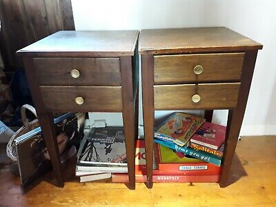 Pair Of Wooden Bedside Lamp Tables