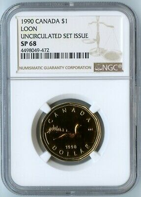 1990 Canada Ngc Sp68 Uncirculated Set Issue Loon $1! Only 3 Exist In Sp68!