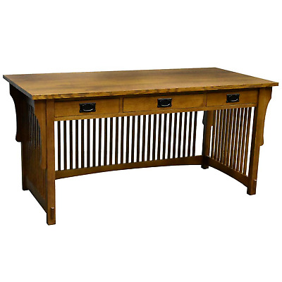 Crafters and Weavers Mission Oak Library Table Desk with Spindles and 3 Drawers