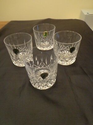 4 Waterford Lismore 9 Ounce Old Fashioned Tumblers - NIB, Signed w/Stickers Irel