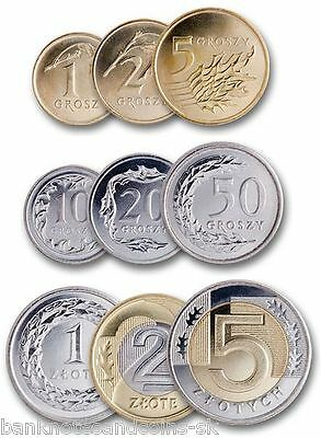 Poland set of 8 coins 1981-1990 UNC 10+20+50 groszy+1+2+5+10+20 zlotych