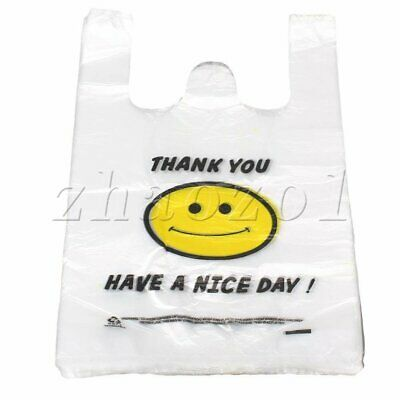 Reusable White Plastic Carry Out Shopping Bags Set of 100