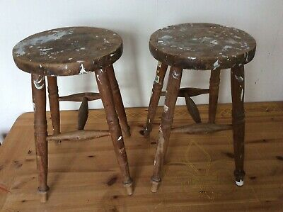 2 Wooden Milking Stools